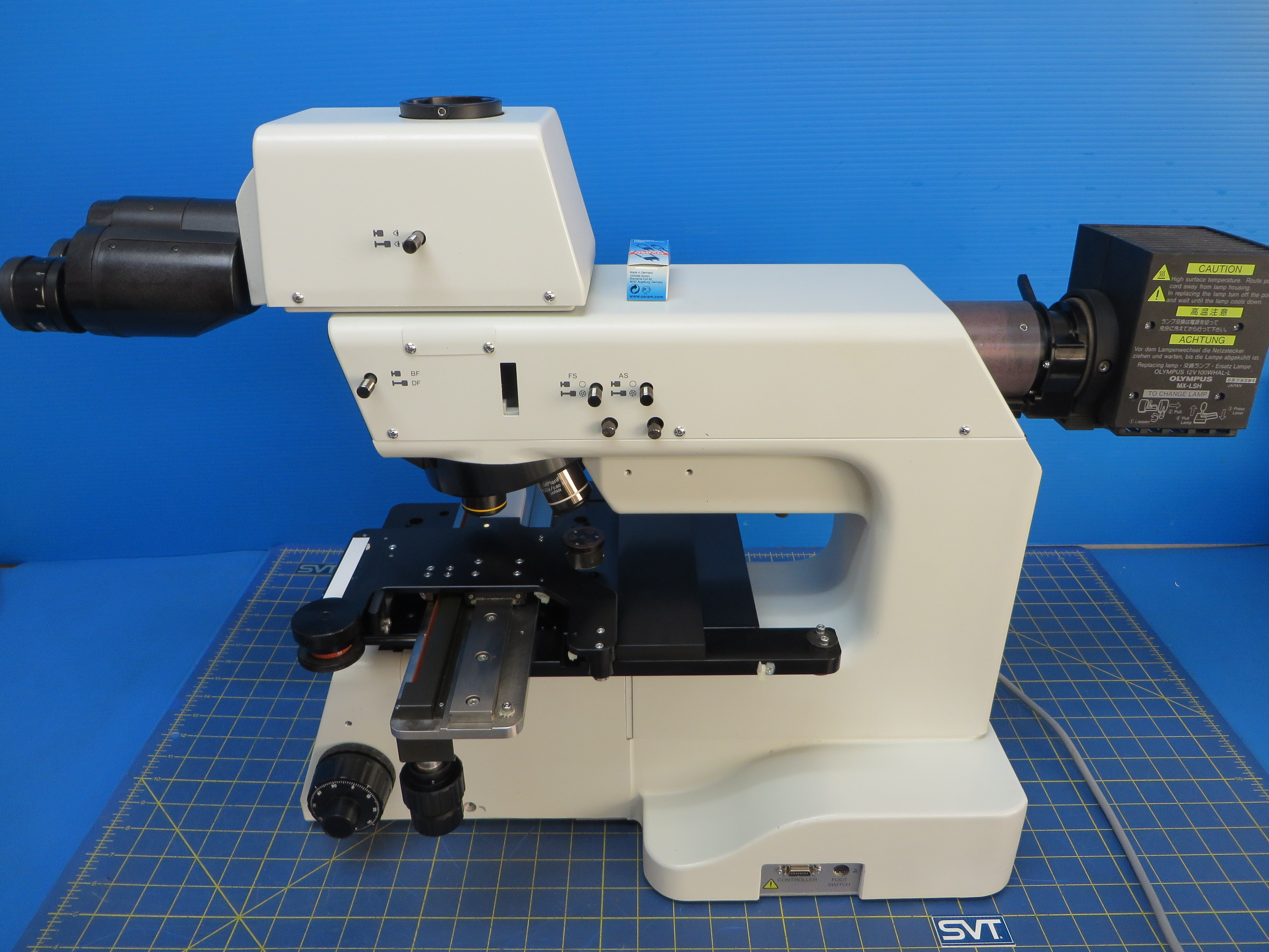 Olympus MX50A-F Inspection Microscope with Olympus LMPlanFI 20x, 50x, 100x Lens