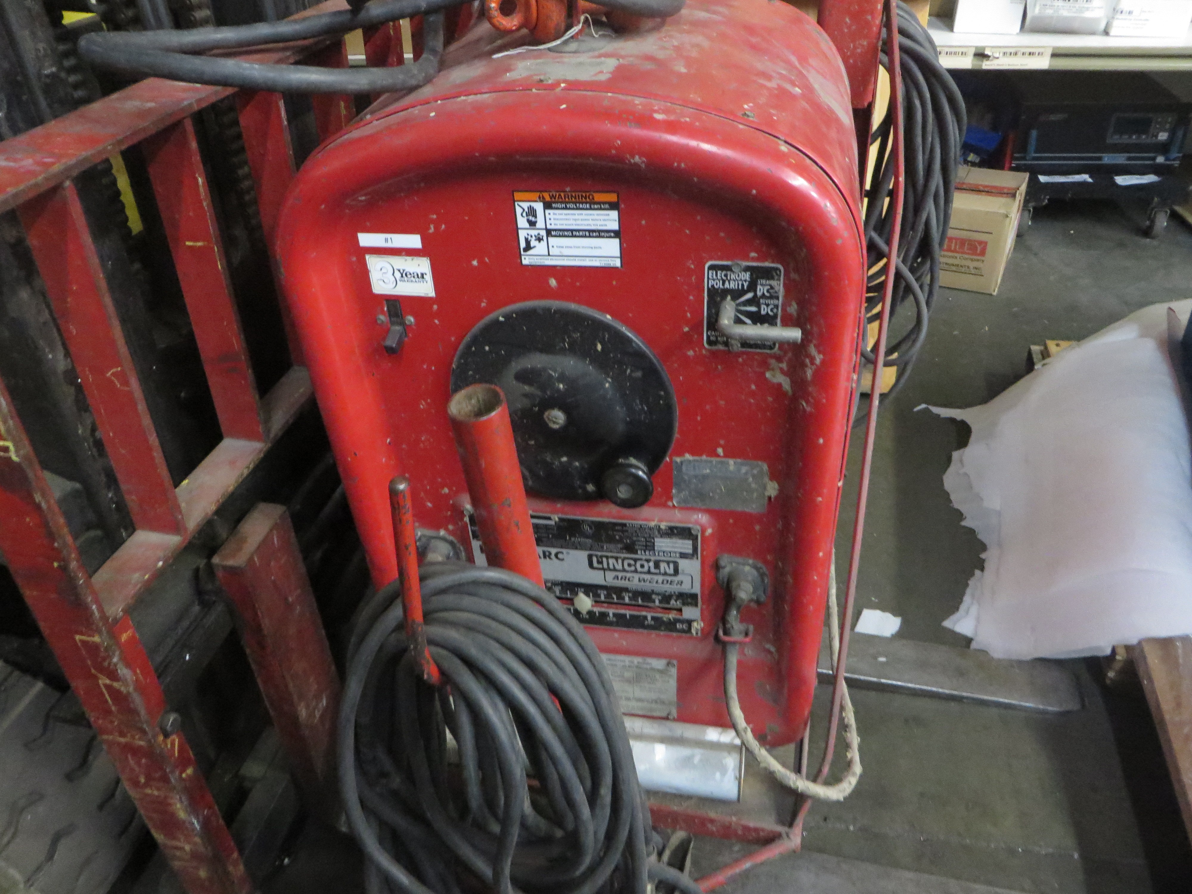 Lincoln 250 Arc Welder with heavy-duty cart and cables